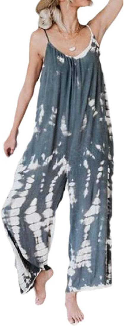 HTOOHTOOH Womens Tie Dye Print Romper Long Pants Strappy Baggy Fashion Playsuits