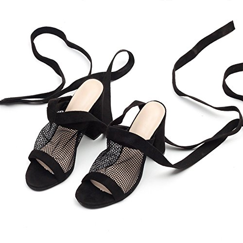 Grueso Sandalias De Net Sasa Gran Tamaño Mujeres Anillo Mujer Con Tacón Verano Súper Zapatos Hollow Las Correas Nuevos Pie Negro qwvC7wS