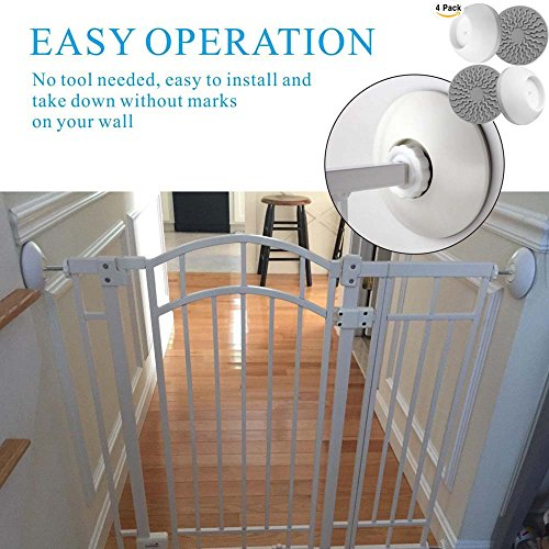 Baby Gates Wall Pads (4 Pack Guard) Safety Indoor Gate Wall Protector - Improved Small Compact Wall Cups Saves Trim & Paint - Best Dog Pet Child Kid Walk Through Pressure Mounted Gates Guard by vmaisi (Image #2)