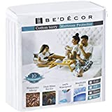 Bedecor Mattress Protector - 100% Waterproof, Hypoallergenic - Premium Fitted Cotton Terry Cover - Single (36 in x 74 in)