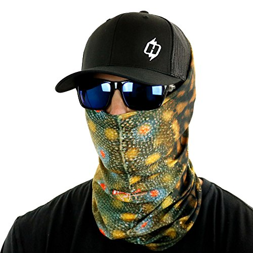 Hoo-Rag Fishing Neck Gaiter Bandana and Sun Shield UV Blocking Multiple Fish Patterns (Brook Trout Real)