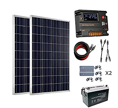 ECO-WORTHY 200 Watt (2pcs 100 Watt) 12V Solar Panel Kit + 20A Battery Charge Controller for 12 Volt Off Grid Battery System + 100Ah 12V Sealed Lead-Acid Battery