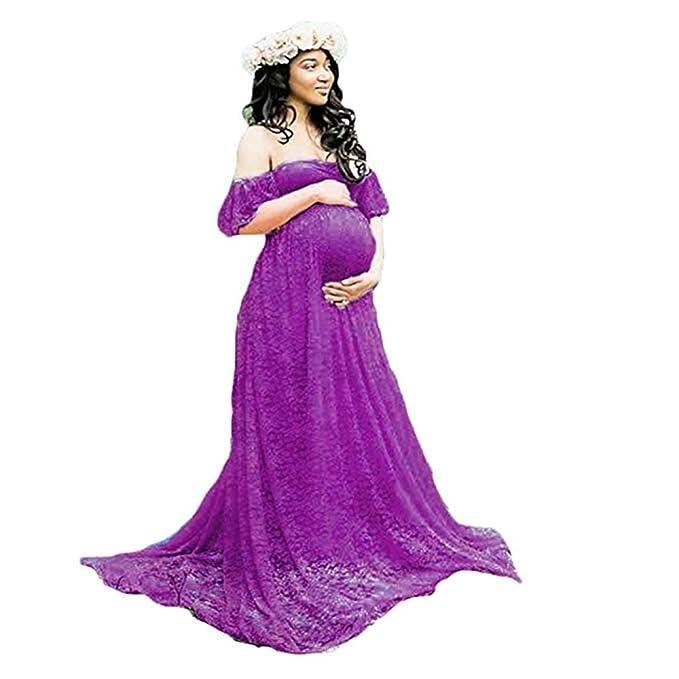 e4675d21b DHLP Vestido de Maternidad Mujer Fiesta Largos Boda Mujer Embarazada  Vestidos Faldas de Maternidad Apoyos de Fotografía Playa  Amazon.es  Ropa y  accesorios