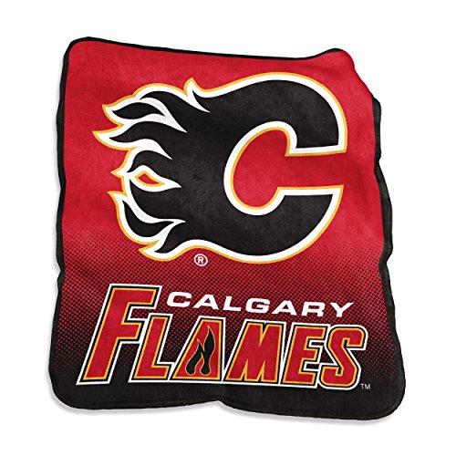 Calgary Flames Blanket (NHL Calgary Flames Plush Raschel Throw with large Logo Blanket, Multicolor, 50