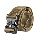 "Motusamare Tactical Belt Heavy Duty Military Style Webbing Riggers Web Belt with 1.5"" Metal Buckle Color Brown"