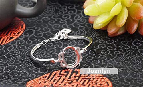 Bracelet Setting for 14x19mm Oval Cabochons or Faceted Gemstones White Gold Plated 925 Silver Zircon Adjustable Bracelet Blank -