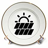 3dRose Carsten Reisinger - Illustrations - Solar Power Symbol Protect the Environment - 8 inch Porcelain Plate (cp_282669_1)