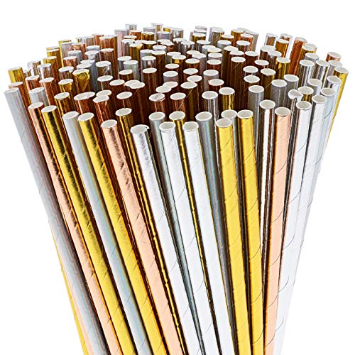 Juvale 200-Pack Bulk Biodegradable Metallic Foil Paper Drinking Straws - Iridescent Silver, Solid Silver, Rose Gold, and Gold, 7.5 Inches ()