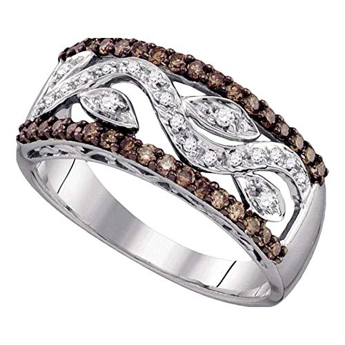 Mia Diamonds 10kt White Gold Womens Round Cognac-brown Color Enhanced Diamond Floral Band Ring (.45cttw) (I2-I3)- Size -9