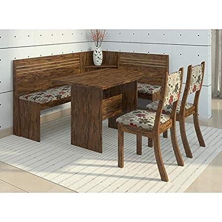 Conjunto Canto Alemão Mesa com 2 Cadeiras Scan Siena Móveis Avelã/Primavera