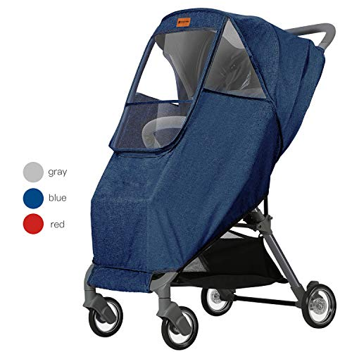 (GOOVI Rain Cover Universal Size Elastic Band Nano Coating Waterproof Windproof Breathable Stroller Weather Shield-Blue)