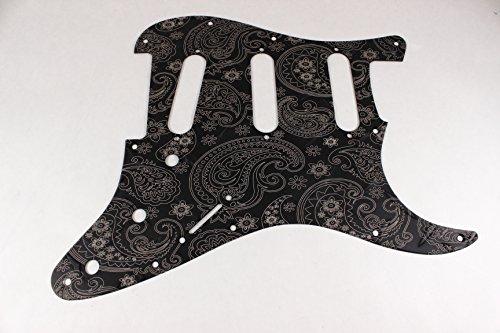 (Matte Black Diamond Plate Anodized Aluminum Paisley SSS Strat Pickguard- Fits Fender Stratocaster)