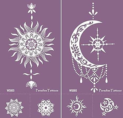Sol, luna – Plantillas de tatuaje reutilizables 2 hojas – morado ...