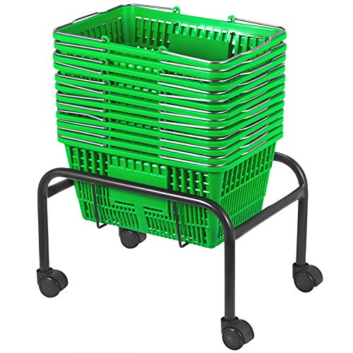 Mophorn Shopping Basket 12PCS Plastic Basket Medium Green Basket with Handle Portable and Durable Stand with Rollers and Sign Shopping Baskets for Retail Store (16 X 11 X 8 inch, Green)