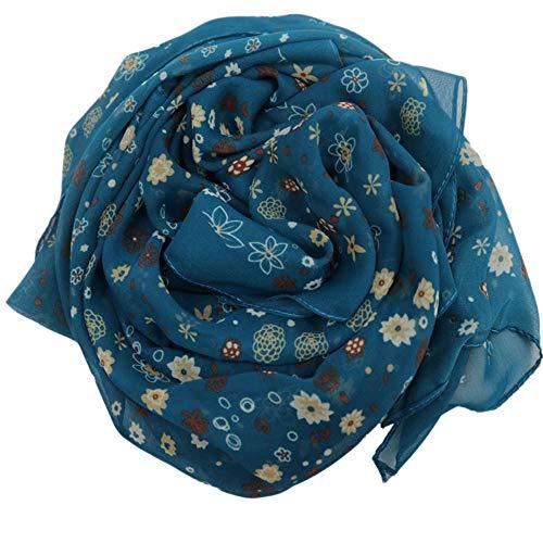 YoungG-3D Scarf Chiffon Shawls Shawl Women Scarves Winter Wraps Wrap Hijab Cape Sciarpa Scarfs Bufanda Blue Onesize -