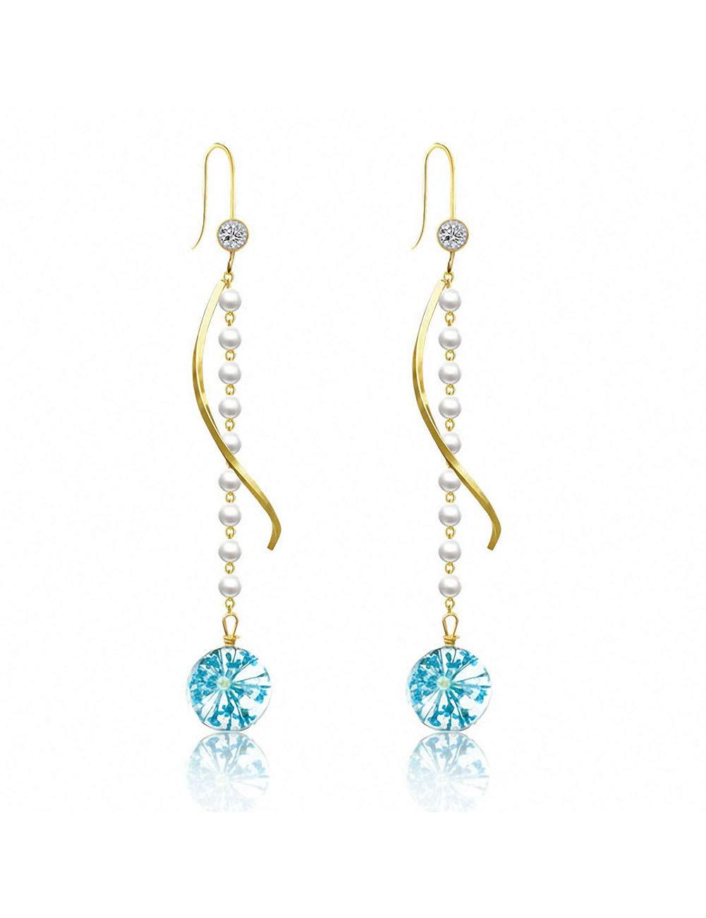 Syshion Gold Plated Earring 2.75 In Ear pendant Eardrop Long Tassel Wave Cuff for Women Girls with Glass Immortalized Flower Blue