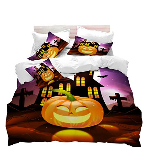 VITALE Duvet Cover Set, Halloween Printed King Size Duvet Cover, Cartoon Pumpkin Church Printed 3 Pieces King Size Bedding Set Kids Bedding Halloween Decor