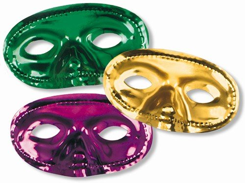 (12-Pack Metallic Mardi Gras Half Mask in Purple, Green and Gold)
