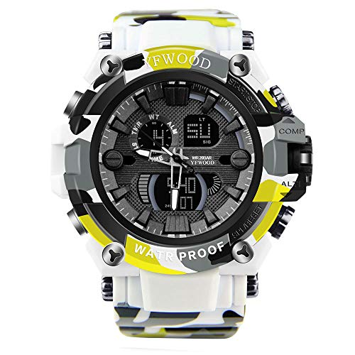 (Military Watch, Digital Watch Men, Outdoor Sports Waterproof Wrist Watch Auto Date Multi Function LED Alarm Stop)