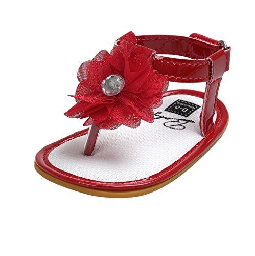 Sandalias de bebé,Auxma Zapatos de las sandalias de la flor de los bebés Primeros zapatos para caminar Rojo