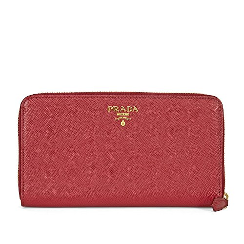Prada Bi-fold Zip Saffiano Leather Continental Wallet - Fuoco