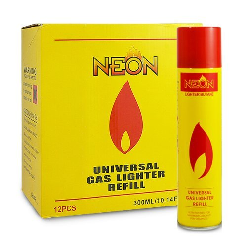 12 cans (1 case) of Neon 300ml Ultra Refined Butane Fuel