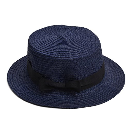 Lawliet Womens Straw Boater Hat Fedora Panama Flat Top Ribbon Summer A456 (Navy Blue)]()