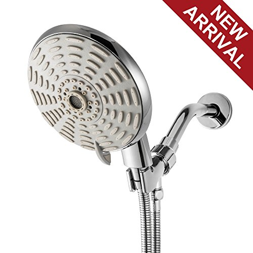 Large Rain Mist - LORDEAR Luxury Large High Pressure 8 Setting Water Flexible Removable Rain Message Detachable Handheld Shower Head Set with Holder, 6