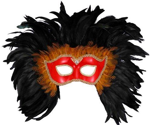 Red & Black Venetian Mask (Forum Elaborate Feather Venetian Mask, Red/Black, One Size)