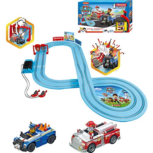 Carrera-First-Paw-Patrol-Slot-Car-Race-Track-Includes-2-Cars-Chase-and-Marshall-Battery-Powered-Beginner-Racing-Set-for-Kids-Ages-3-Years-and-Up