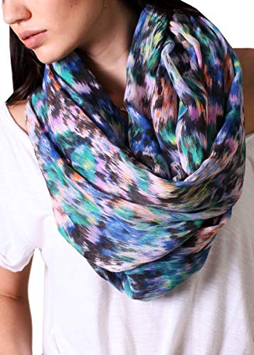 Anika Dali Women's Monet Abstract Watercolor Multicolor Infinity Scarf, Blue/Green