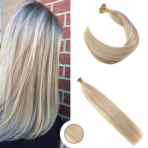 Ugeat 20inch 50 Gram Nano Ring Beads Remy Hair Extensions Color Ash Blonde Mix Bleach Blonde Highlight Micro Loop Nano Ring Hair Extensions