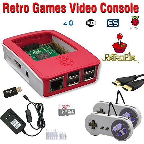 RetroBox - Raspberry Pi 3 Based Retro Game Console, 32GB Red Edition with Heatsinks Installed, RetroPie by Crisp Concept Ltd.