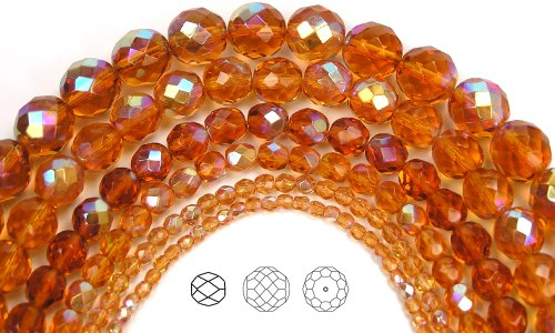 8mm (51) Topaz AB coated, Czech Fire Polished Round Faceted Glass Beads, 16 inch (Topaz Round Firepolish Glass Bead)