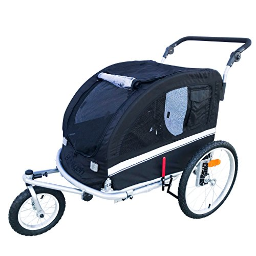 MB Large Pet Dog Stroller and Bike Bicycle Trailer with Suspension/Shocks (Black)