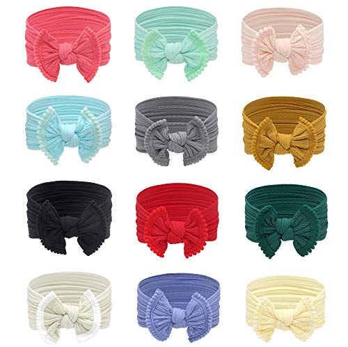 Baby Headbands Girl Nylon Bows Turban Soft Stretchy of Newborn lnfant Hairbands Toddler Children Hair Accessories,12 pcs (Set 1-12 Pcs)