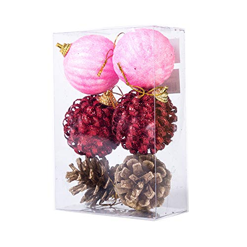 (Xena 6 Pack Elegant Assortment Vintage Shatterproof Christmas Ball Ornaments Set, 2 Inches Each Assorted Gold Pine Cones Red Ribbon Pink Faux Fake Snow Decorations Xmas Holiday Tree Accessories)