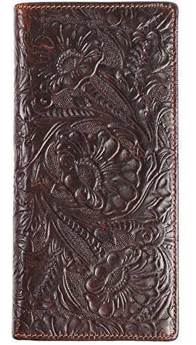 (Womens Ladies Genuine Leather Wallet Long Embossing Bifold Wallet Clutch Purse (Coffee))
