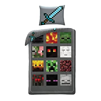 Parure de lit Minecraft   housse de couette coton 140 x 200 cm