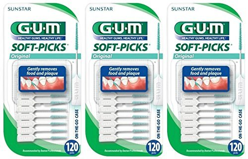 Sunstar GUM Soft-picks In On-The-Go Case, 120 Count (Pack of 3)