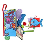 SUPOW Soft Cloth Books -Funny Animal Tails Cloth book Baby Toy Cloth Development Books for 3~24 Month Baby (Fishy Tails)