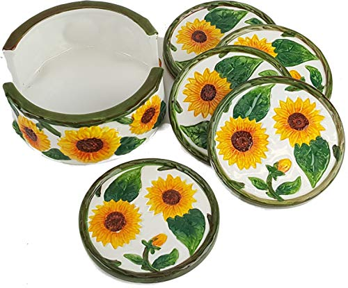 6pc Hand Painted Ceramic SUNFLOWERS Coaster Set