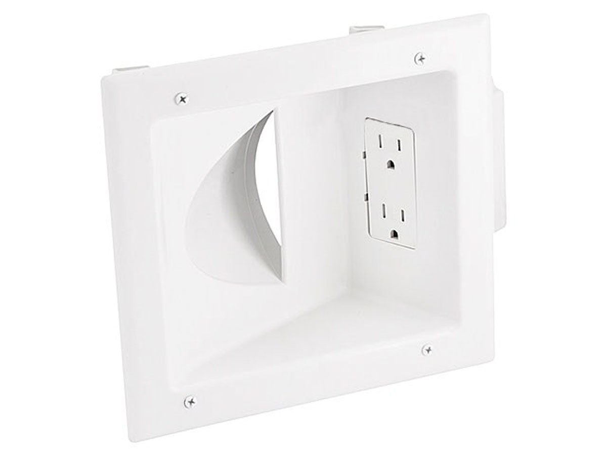 Monoprice 108475 Recessed Low Voltage Media Wall Plate with Duplex Receptacle - White