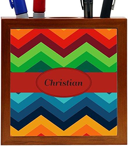 Rikki Knight Christian Name on Fall Colors Chunky Chevron Design 5-Inch Tile Wooden Tile Pen Holder (RK-PH45247)