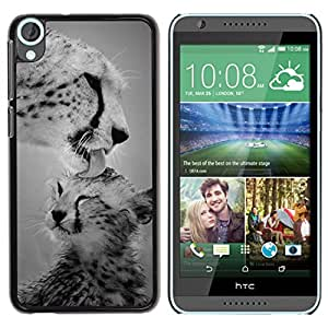 YOYOYO Smartphone Protección Defender Duro Negro Funda Imagen Diseño Carcasa Tapa Case Skin Cover Para HTC Desire 820 - leopardo cachorro de gato grande naturaleza blanco negro