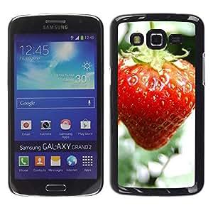LECELL -- Funda protectora / Cubierta / Piel For Samsung Galaxy Grand 2 SM-G7102 SM-G7105 -- Fruit Macro Wet Strawberry --