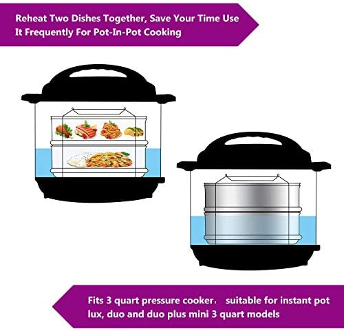 51p7Cwb4XJL. AC Aozita 3 Quart Stackable Steamer Insert Pans - Accessories for Instant Pot Mini 3 qt - Pot in Pot, Baking, Casseroles, Lasagna Pans, Food Steamer for Pressure Cooker, Upgrade Interchangeable Lids    Parts Included: 1.Two stackable insert pans 2.One interlocking handle 3.Two Interchangeable Lids 4.One silicone insulation mat 5.One user manual Stackable cooker inserts enable you to: Cook variety of healthy and tasty dishes simultaneously by stacking. Reheat leftover food in pressure cookers, and avoid the microwave. Make cheesecakes without using non-stick pans. Store cooked and leftover food in refrigerator. Product Specifications:  Item condition: New Size: Fits inside 8-quart cooker Item Dimension: 6.5 x 6.5 x 4.7 inch (L x W x H) Material: Food-Grade Stainless Steel Care and Cleaning: 1. Aozita inserts are dishwasher safe but hand drying is recommended for a spotless shine. 2. Do not use steel wool, bleach or strong abrasive cleaners. If you decide to hand-wash your inserts, use mild detergents and warm water. 3. Whether you are washing your inserts by hand or in the dishwasher, it is important to dry it promptly so that spotting, streaking, discoloration, or corrosion does not occur. 100% Satisfaction : If you have any issue with our products, please don't hesitate to contact us, we will try our best to find a satisfactory solution for you within 24 hours!