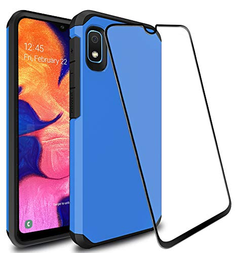 SunStory Galaxy A10e Case with 9H Tempered Glass Screen Protector Heavy Duty [Dual Layer] Hybrid Shock Proof Protective Rugged Bumper Cover Case for Samsung Galaxy A10e (Blue)