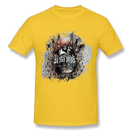 Tea Time Men's Tshirt All Shall Perish Awaken The Dreamers Yellow Size L