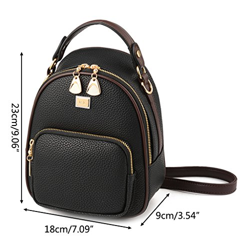 for Mini Schoolbag Schoolbag Leisure Travel match Backpack Women Wanfor Student Leather PU All Girl Backpack Black Rucksack ngwxqqY4